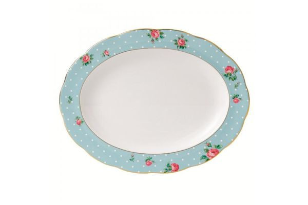 Royal Albert Polka Blue Oval Plate / Platter