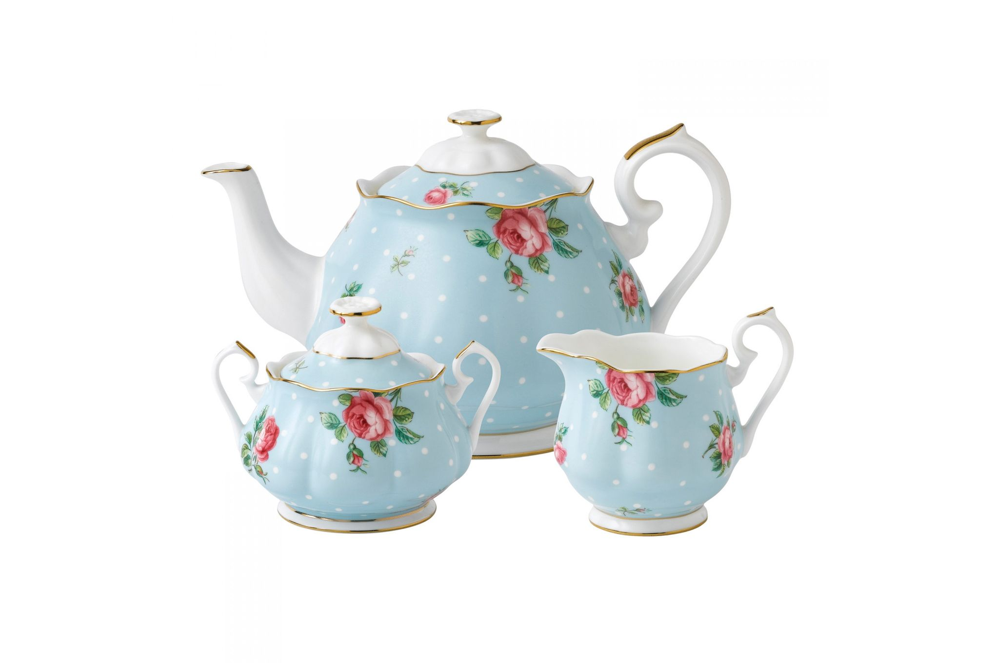 Royal Albert Polka Blue 3 Piece Tea set Teapot, Sugar, Creamer thumb 1