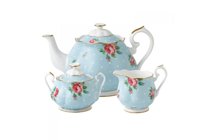 Royal Albert Polka Blue 3 Piece Tea set Teapot, Sugar, Creamer