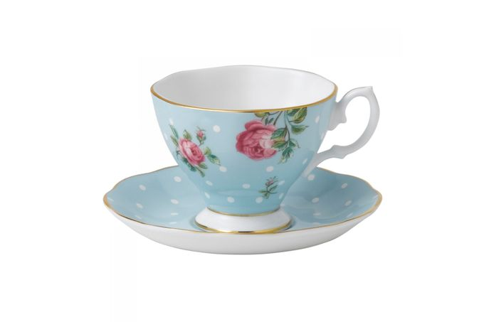Royal Albert Polka Blue Espresso Cup & Saucer Boxed
