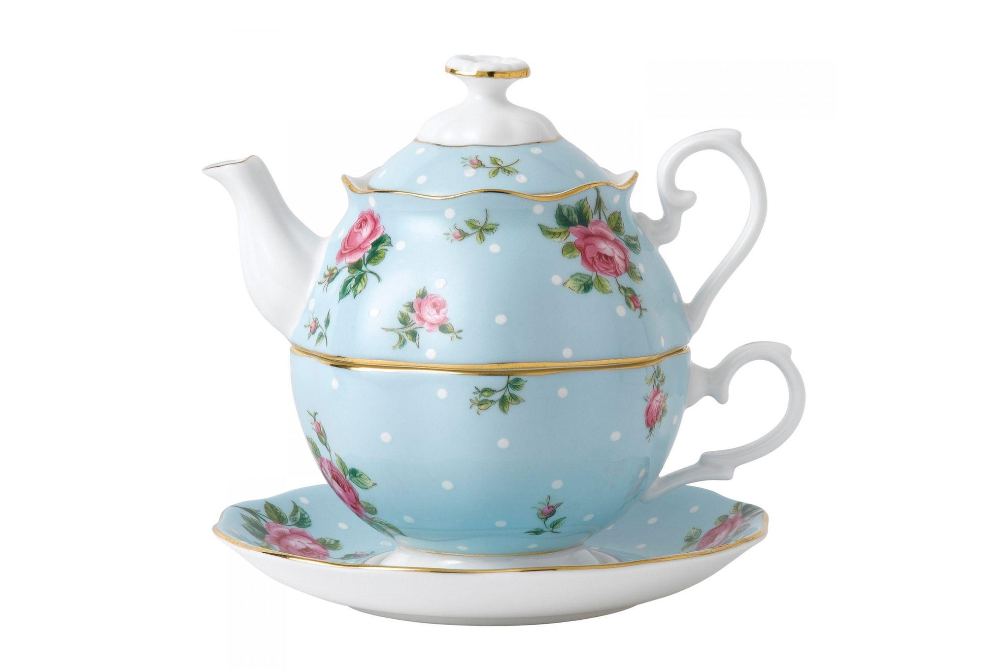 Royal Albert Polka Blue Tea For One thumb 1