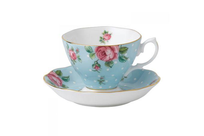 Royal Albert Polka Blue Teacup & Saucer Boxed