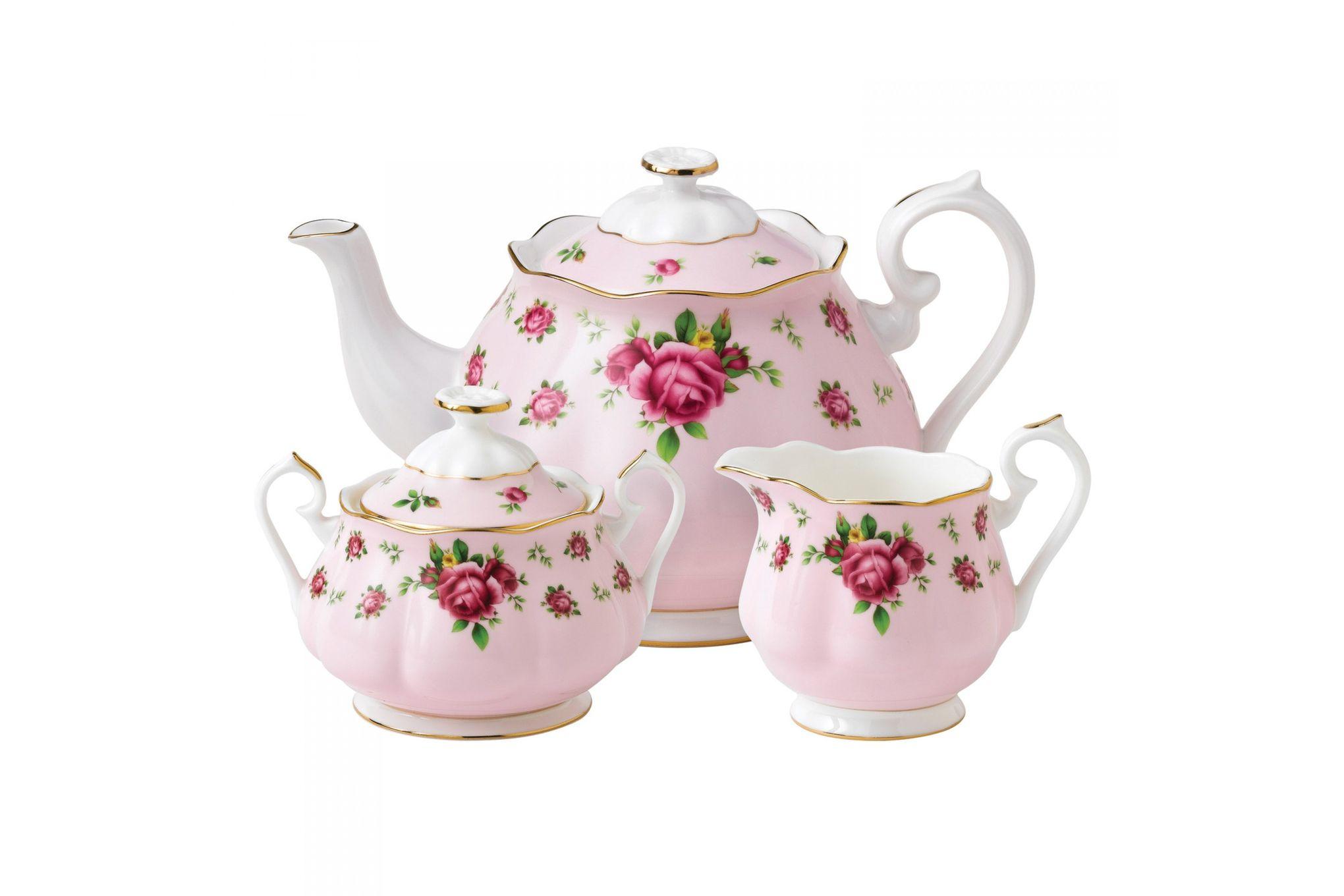 Royal Albert New Country Roses Pink 3 Piece Tea set Teapot, Sugar, Creamer thumb 1
