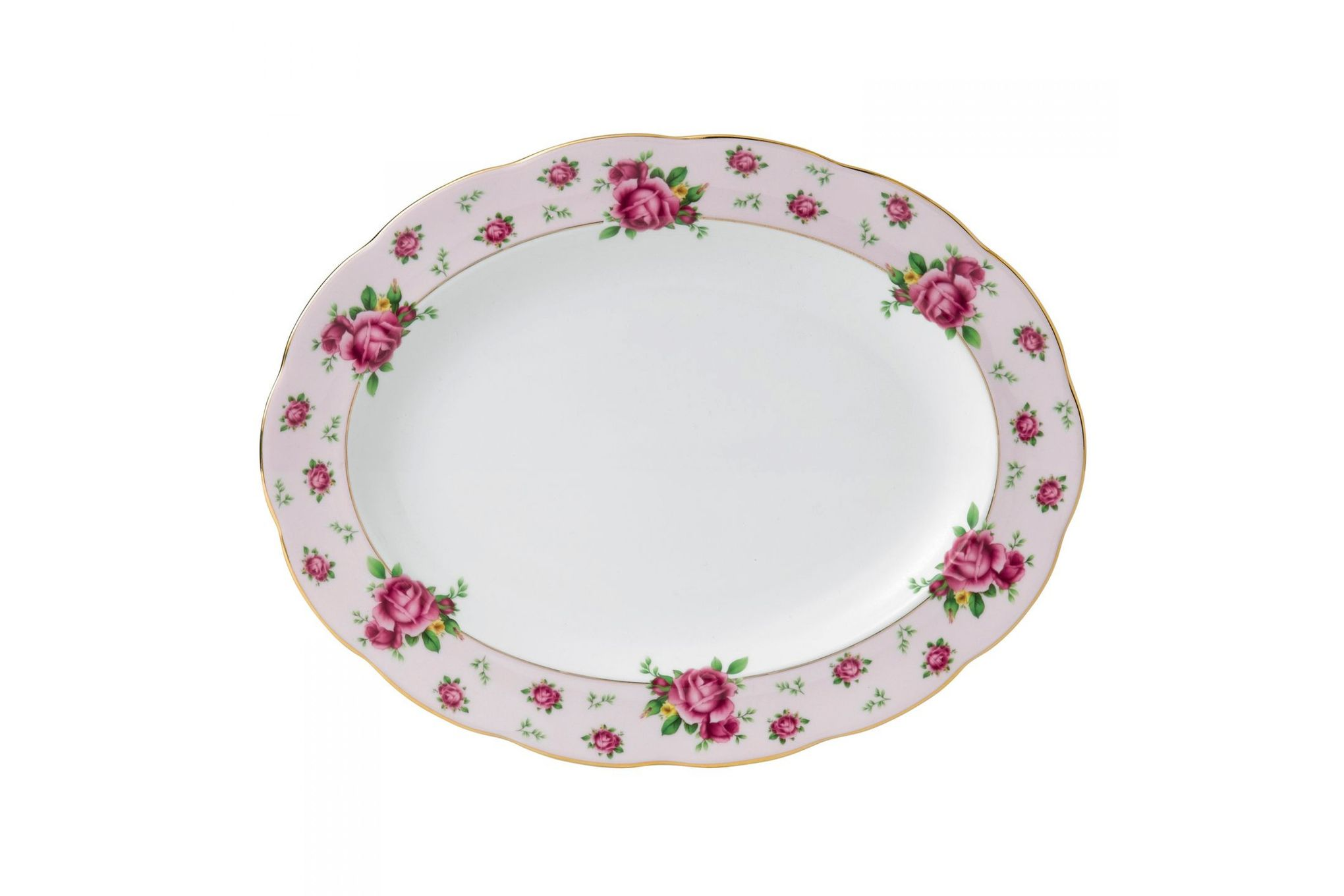 Royal Albert New Country Roses Pink Oval Platter 33cm thumb 1