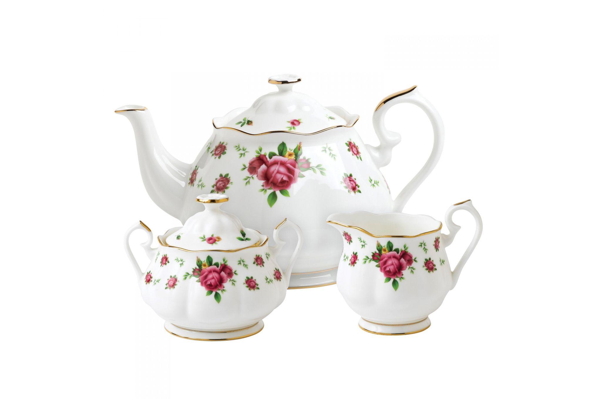 Royal Albert New Country Roses White 3 Piece Tea set Teapot, Sugar, Creamer thumb 1
