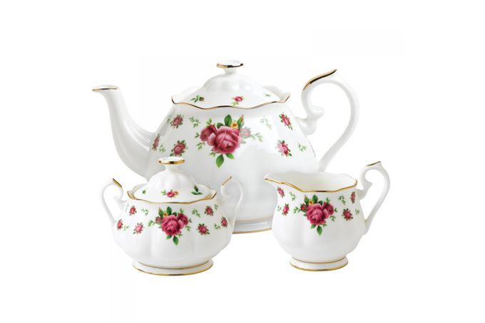 Royal Albert New Country Roses White 3 Piece Tea set Teapot, Sugar, Creamer
