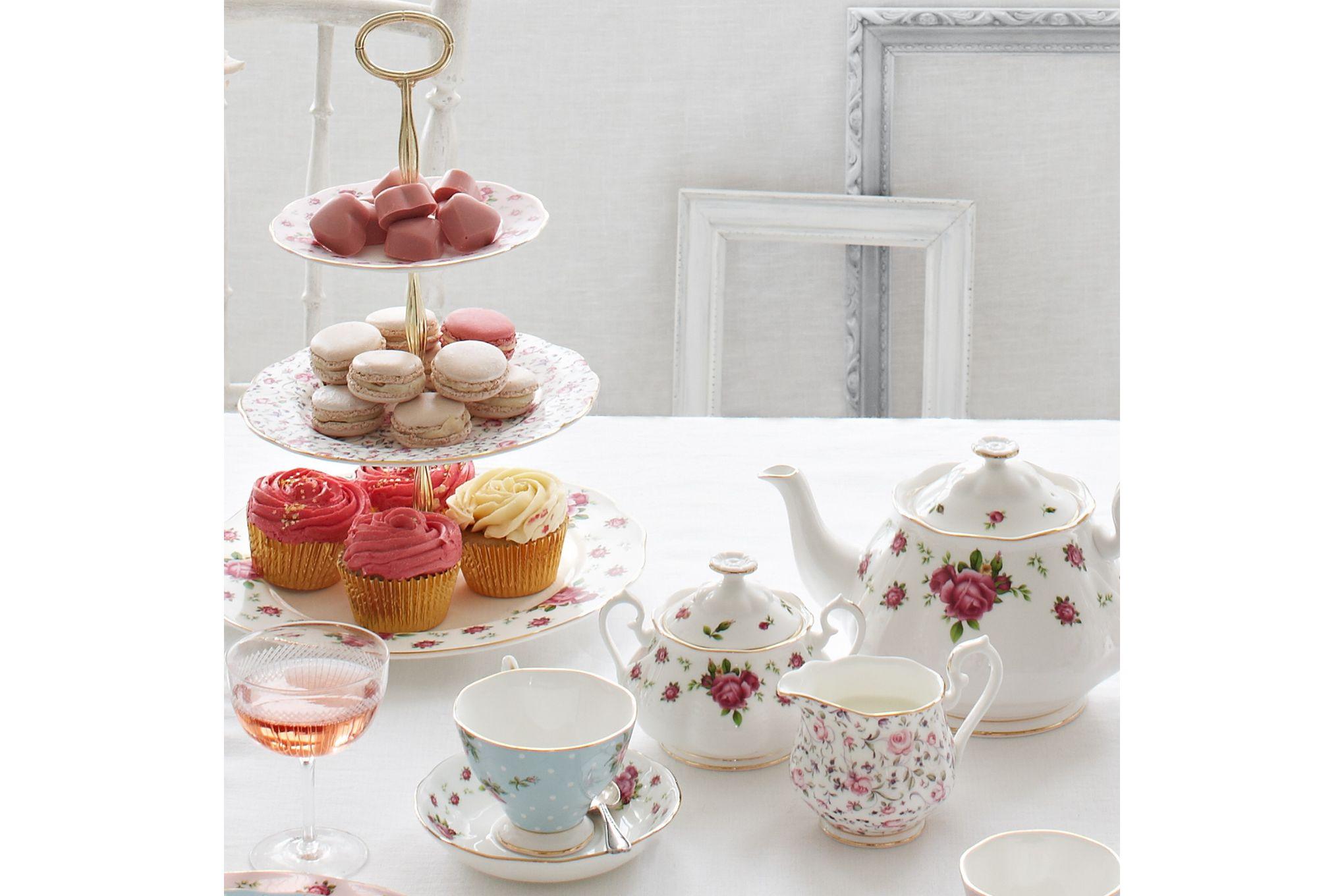 Royal Albert New Country Roses White 3 Piece Tea set Teapot, Sugar, Creamer thumb 2