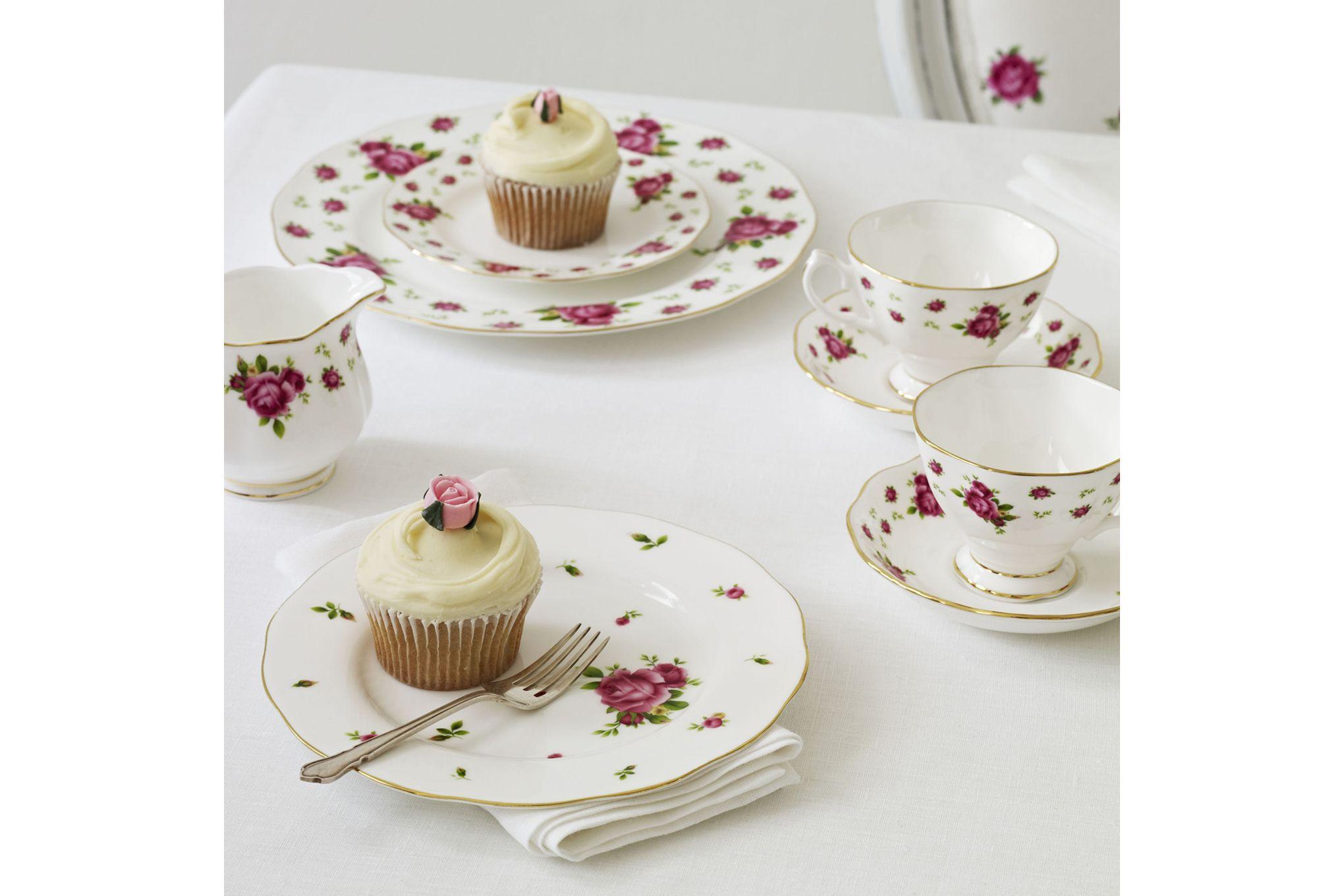 Royal Albert New Country Roses White 3 Piece Tea set Teapot, Sugar, Creamer thumb 3