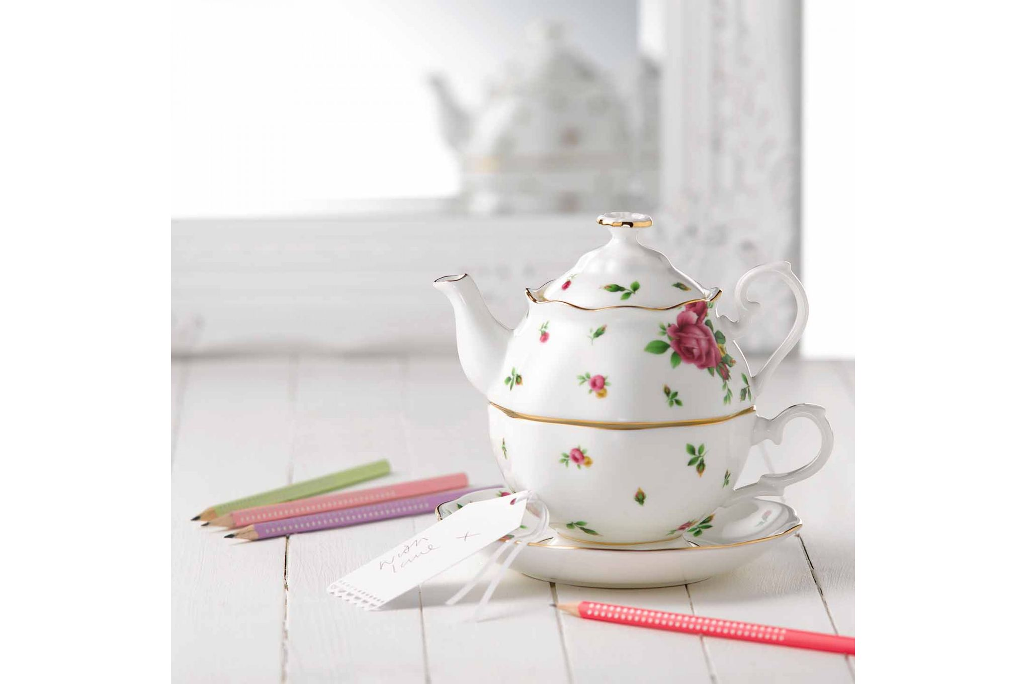 Royal Albert New Country Roses White Tea For One thumb 3