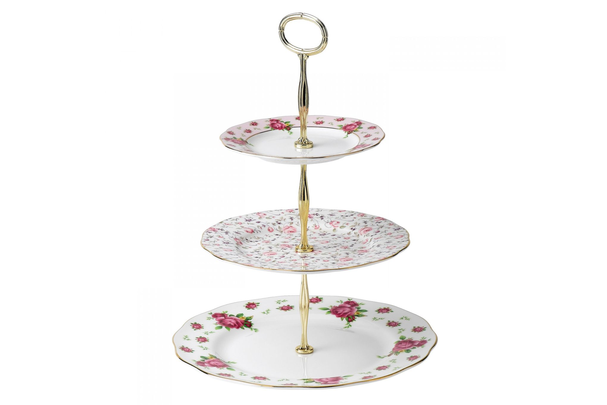 Royal Albert New Country Roses White 3 Tier Cake Stand Boxed thumb 1