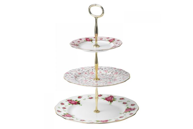 Royal Albert New Country Roses White 3 Tier Cake Stand Boxed
