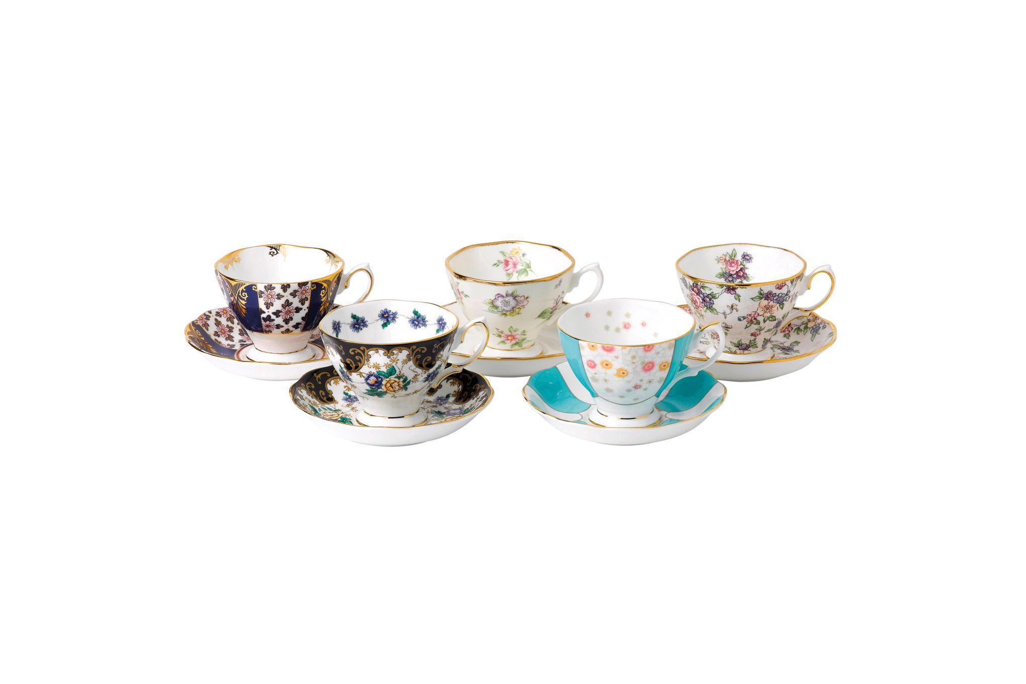 Royal Albert 100 Years of Royal Albert Set of Teacups and Saucers Boxed Set of 5, 1900-1940 thumb 1