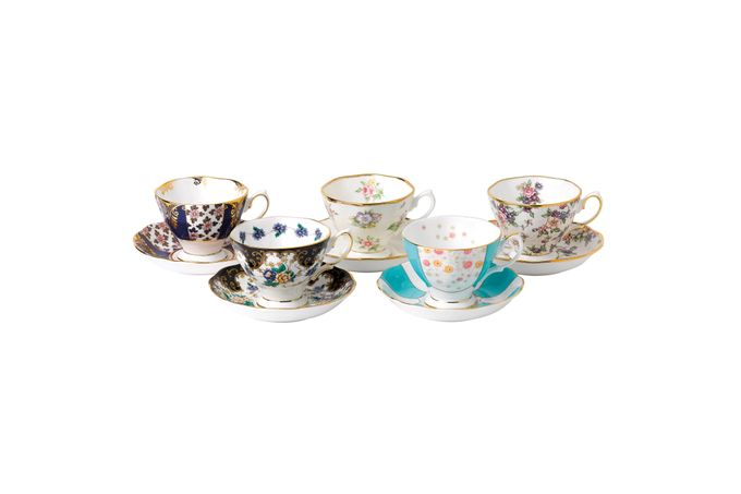 Royal Albert 100 Years of Royal Albert Set of Teacups and Saucers Boxed Set of 5, 1900-1940