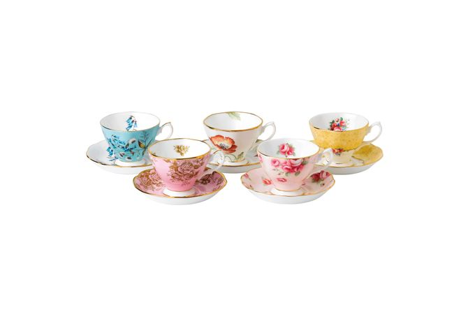 Royal Albert 100 Years of Royal Albert Set of Teacups and Saucers Boxed Set of 5, 1950-1990