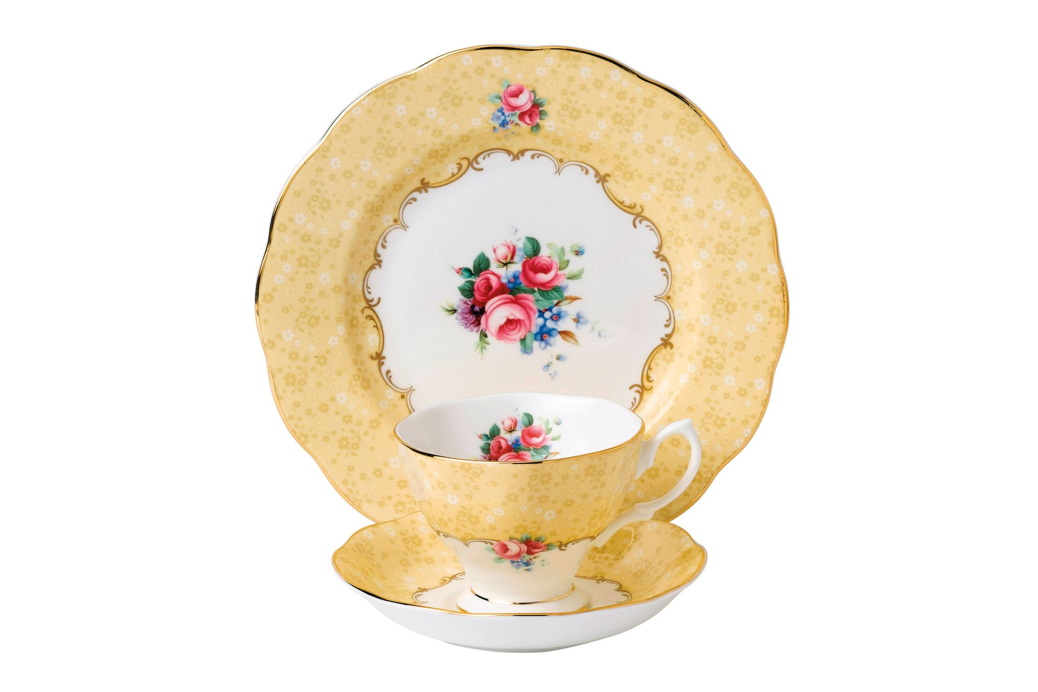 Royal Albert 100 Years of Royal Albert 3 Piece Set Bouquet, 1990 ,Teacup & Saucer, Plate 20cm thumb 1