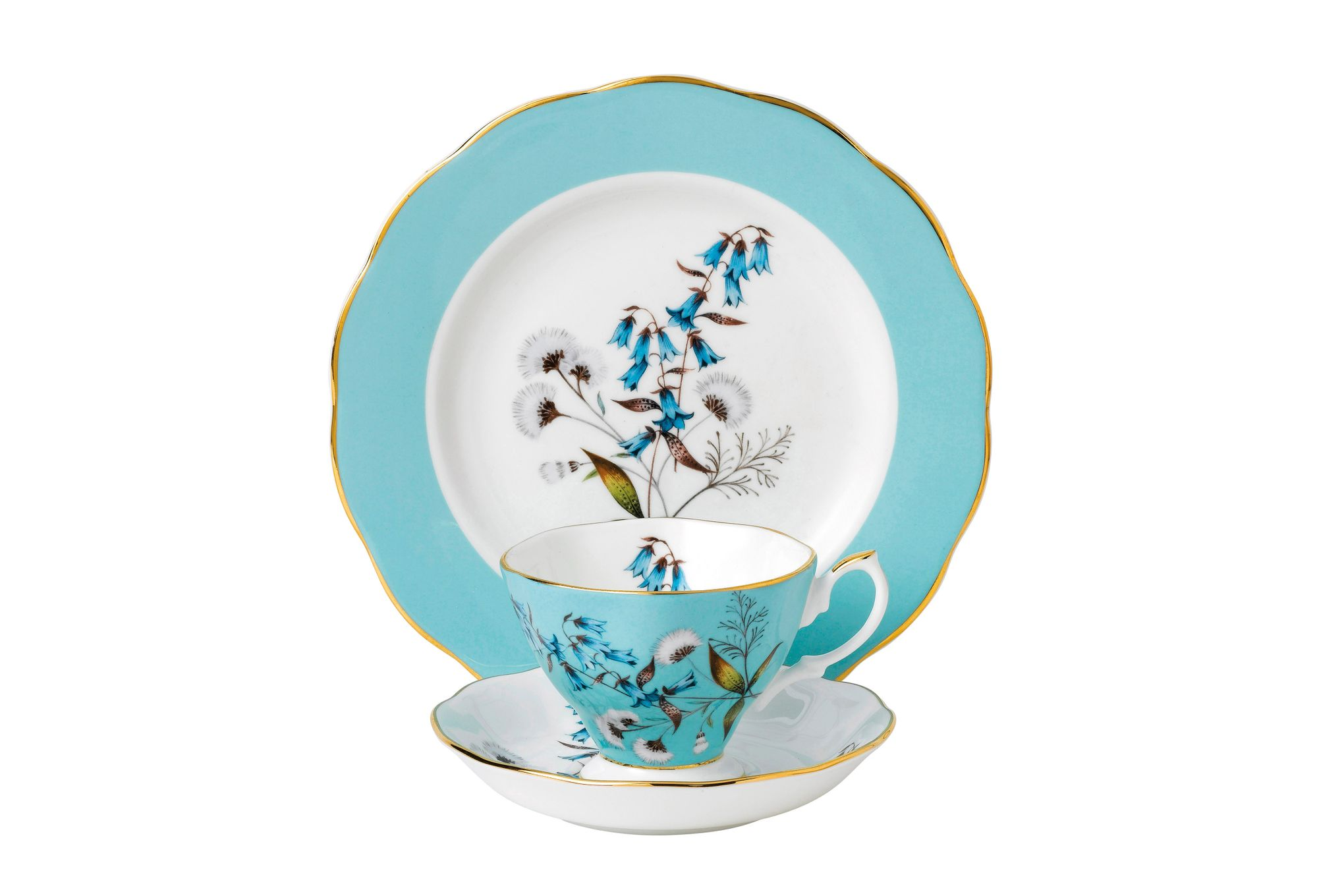 Royal Albert 100 Years of Royal Albert 3 Piece Set Festival 1950, Teacup & Saucer, Plate 20cm thumb 1