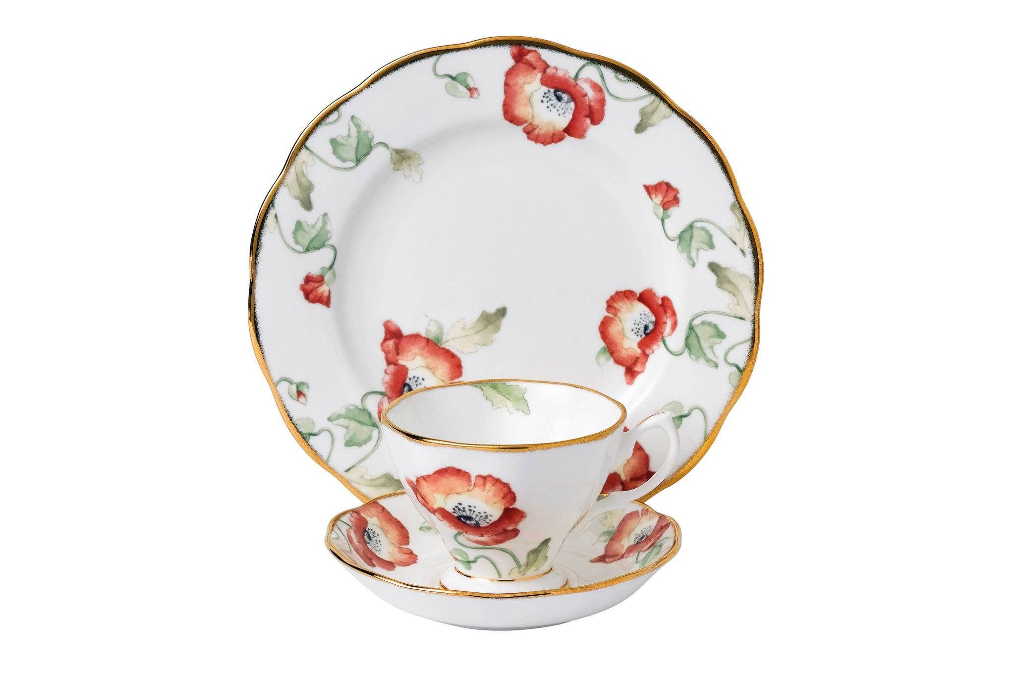 Royal Albert 100 Years of Royal Albert 3 Piece Set Poppy 1970, Teacup & Saucer, Plate 20cm thumb 1