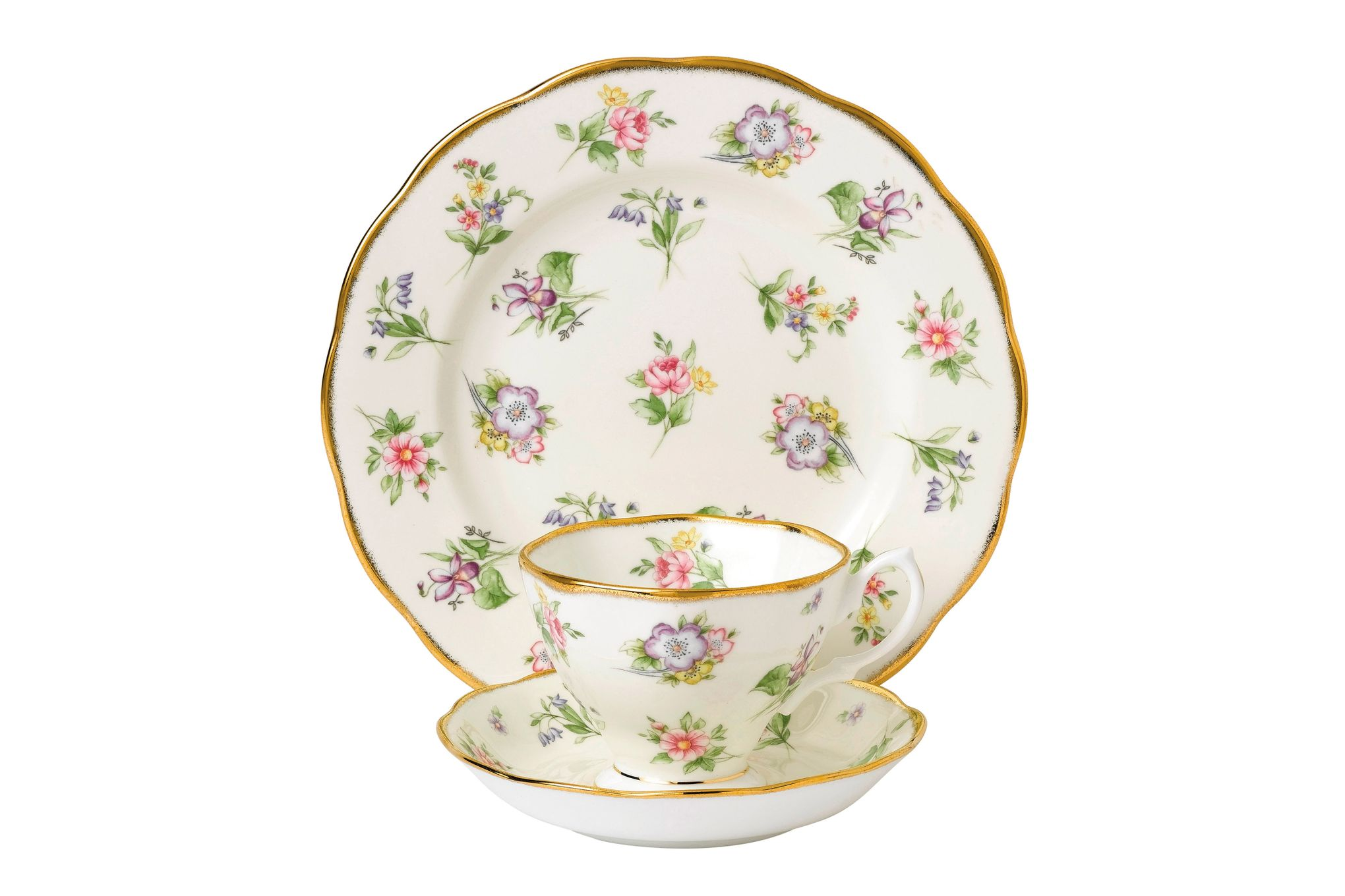 Royal Albert 100 Years of Royal Albert 3 Piece Set Spring Meadow 1920, Teacup & Saucer, Plate 20cm thumb 1
