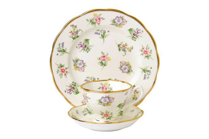 Royal Albert 100 Years of Royal Albert 3 Piece Set Spring Meadow 1920, Teacup & Saucer, Plate 20cm