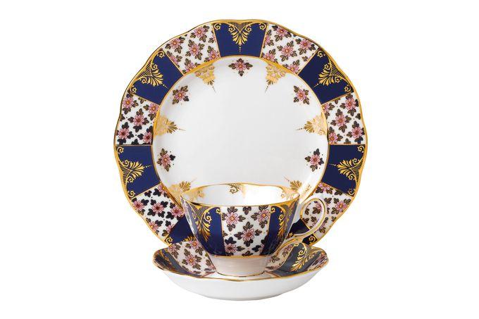Royal Albert 100 Years of Royal Albert 3 Piece Set Regency Blue 1900, Teacup & Saucer, Plate 20cm