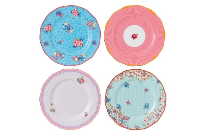 Royal Albert Candy Collection Set of Side Plates Set of 4 Mixed Plates 20cm