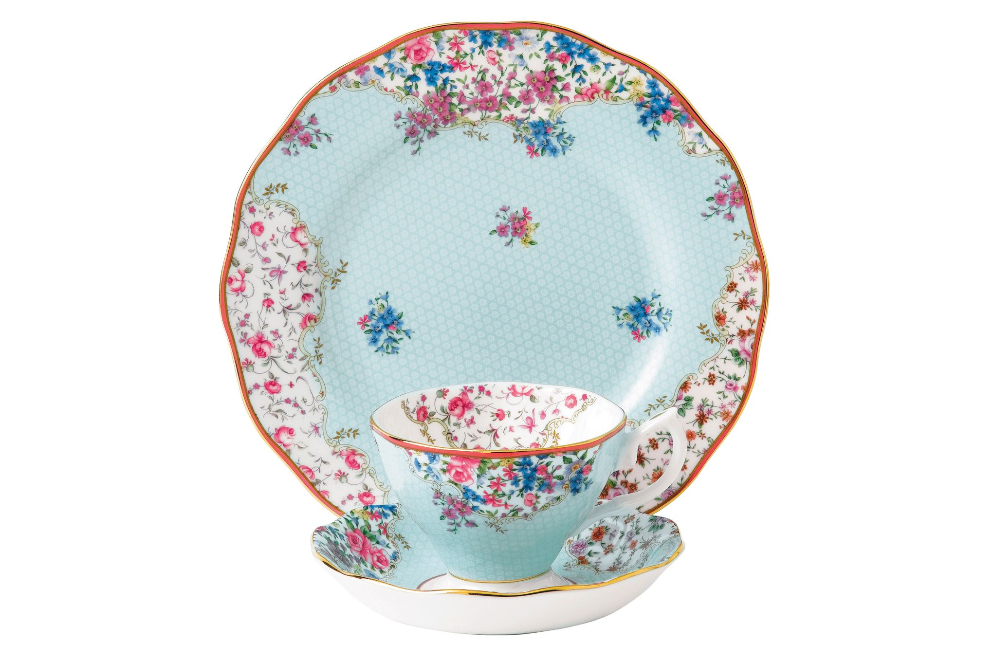 Royal Albert Candy Collection 3 Piece Set Sitting Pretty, Teacup, Saucer & Plate 20cm thumb 1
