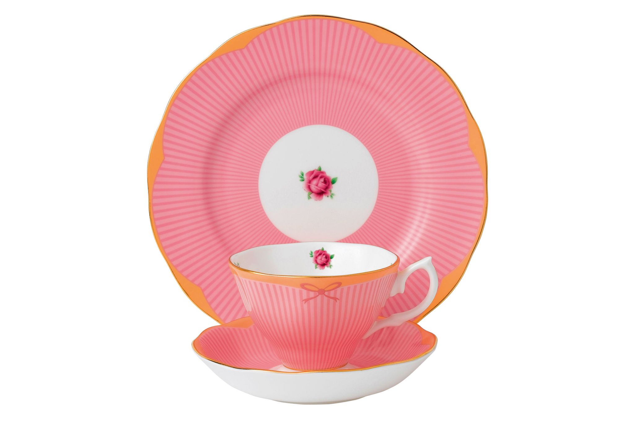 Royal Albert Candy Collection 3 Piece Set Sweet Stripe, Teacup, Saucer & Plate 20cm thumb 1