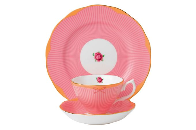 Royal Albert Candy Collection 3 Piece Set Sweet Stripe, Teacup, Saucer & Plate 20cm