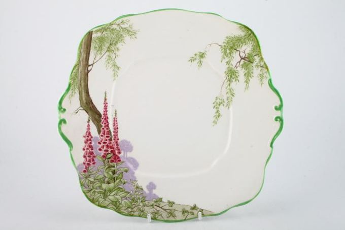"Royal Albert Foxglove Cake Plate square - eared - green edge 9 3/4 x 9 1/4"""