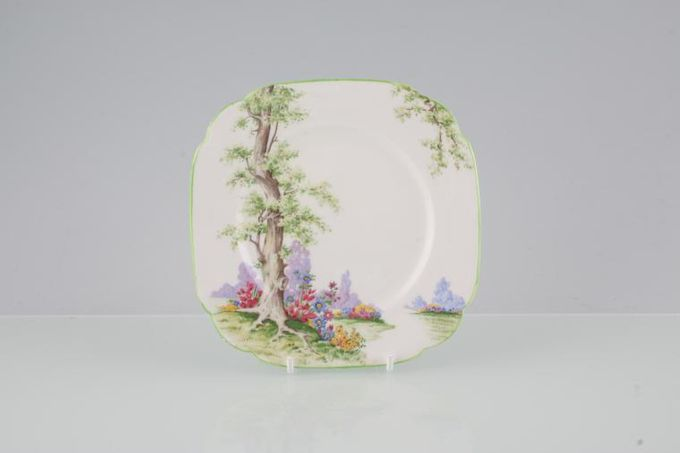 Royal Albert Greenwood Tree - Green Edge Tea / Side / Bread & Butter Plate Square 6""