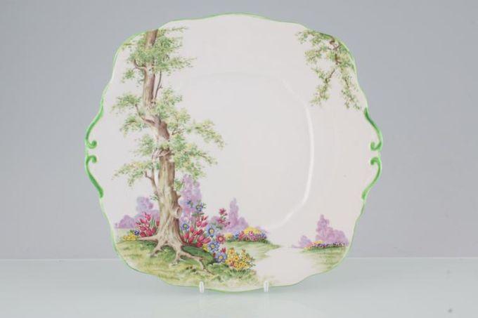 "Royal Albert Greenwood Tree - Green Edge Cake Plate 9 3/4"""