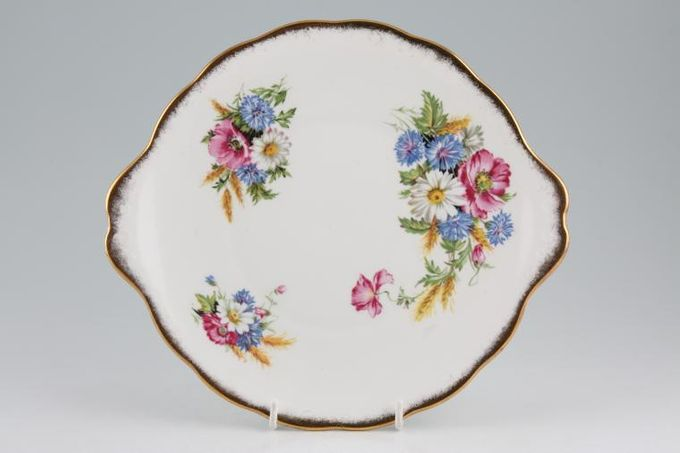 """Royal Albert Harvest Bouquet Cake Plate Eared plate with frosted gold rim old back stamp 10"""""""