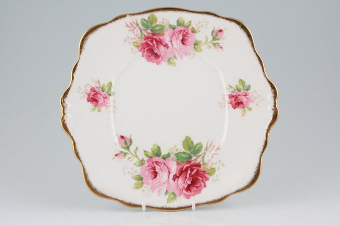 """Royal Albert American Beauty Cake Plate larger floral pattern (square) 9 3/4 x 9"""""""