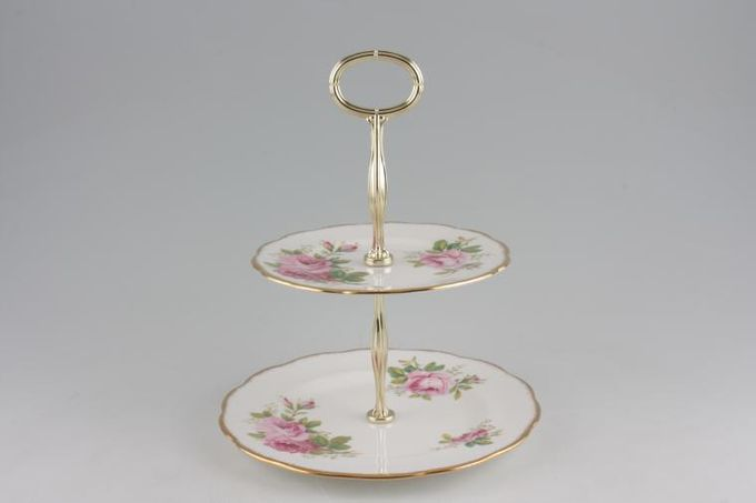 "Royal Albert American Beauty Cake Stand 2 Tier 6 1/4"" and 8 1/4"""