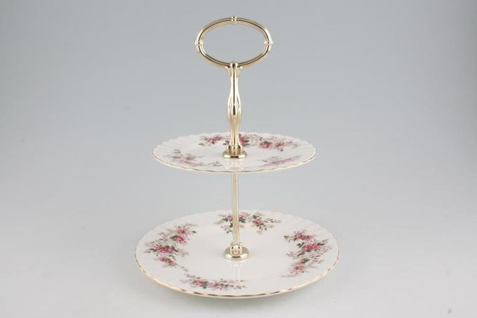 Royal Albert Lavender Rose Cake Stand 2 Tier 8 1/4 x 6 1/4""