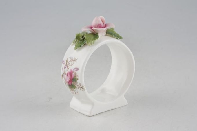 Royal Albert Lavender Rose Napkin Ring Round - Modelled flower on top