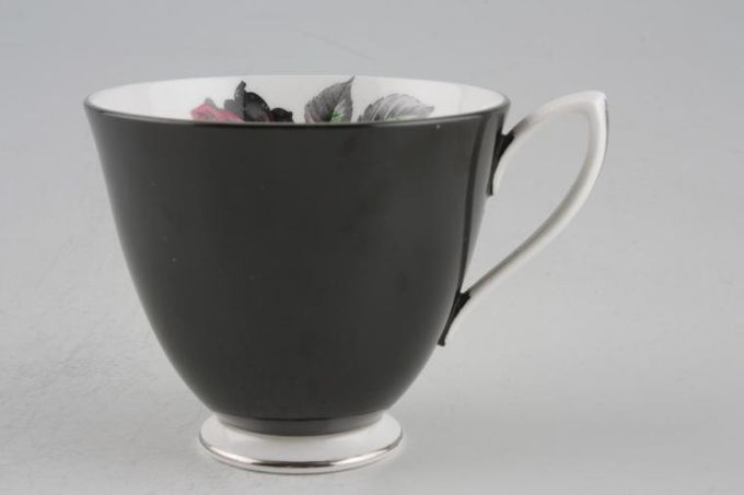 """Royal Albert Masquerade Teacup black outside, white base and handle with silver trim 3 3/8 x 3"""""""