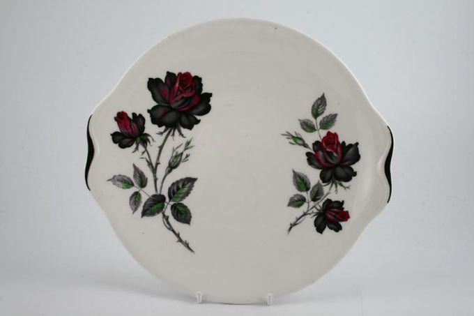 "Royal Albert Masquerade Cake Plate floral - black edge 9 1/2"""