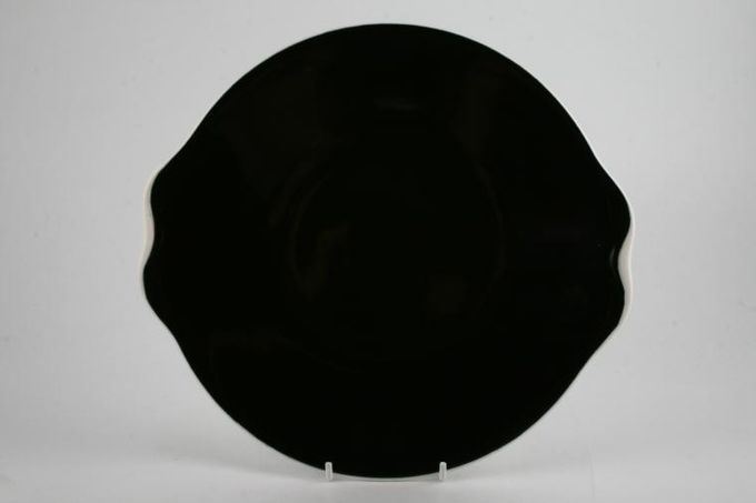 Royal Albert Masquerade Cake Plate black with white rim 9 1/2""
