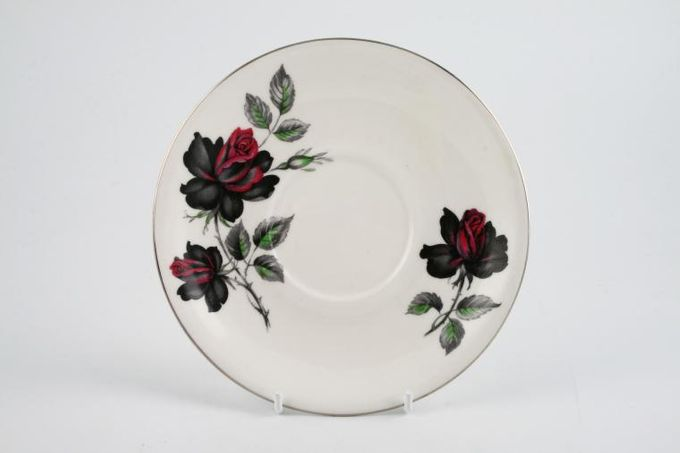 "Royal Albert Masquerade Soup Cup Saucer Floral.Silver rim 6 1/4"""
