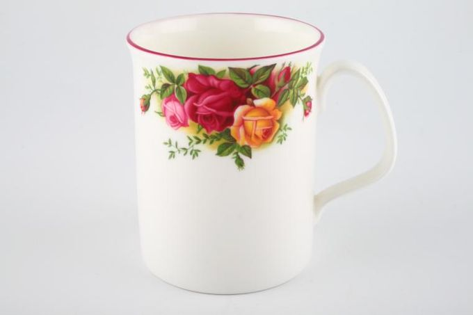 """Royal Albert Old Country Roses - Made in England Mug Straight Sided - Pink Rim 3 x 3 3/4"""""""