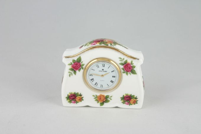 """Royal Albert Old Country Roses - Made in England Clock Rectangular.Mantle Clock 3 x 2 1/2"""""""