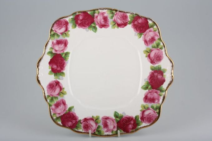 Royal Albert Old English Rose - New Style Cake Plate Square.Eared 9 3/4""