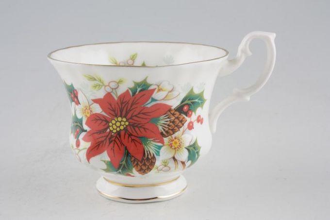 "Royal Albert Poinsettia Teacup No gold on Handle 3 1/2 x 2 3/4"""
