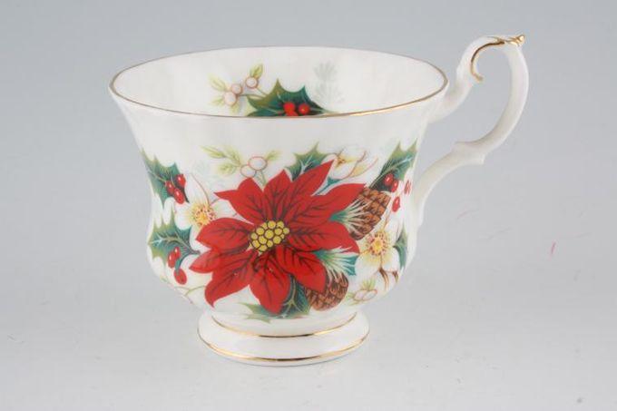 "Royal Albert Poinsettia Teacup Gold on Handle 3 1/2 x 2 3/4"""