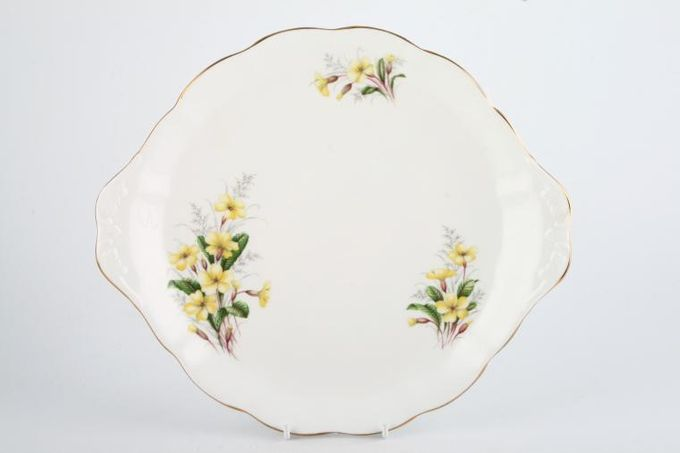 Royal Albert Primrose Cake Plate Round, Handled, Wavy Edge