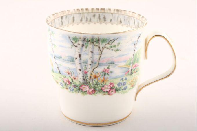 """Royal Albert Silver Birch Mug Pattern starts at 1/3 of the way up 3 1/4 x 3 1/4"""""""