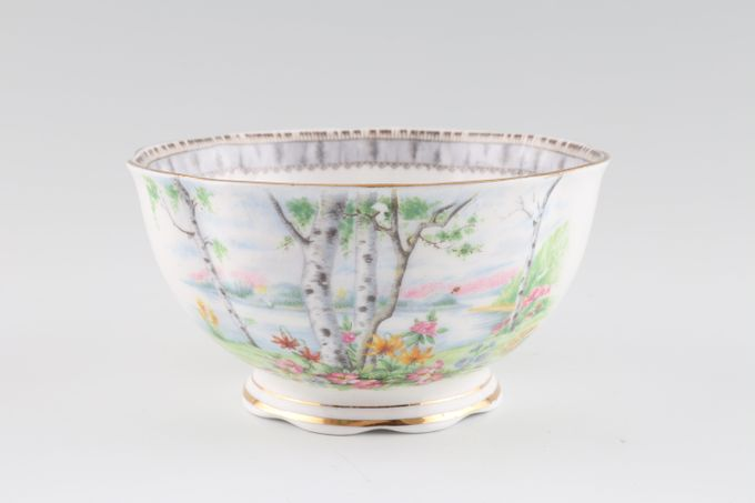 "Royal Albert Silver Birch Sugar Bowl - Open (Tea) Wavy edge 4 1/2"""