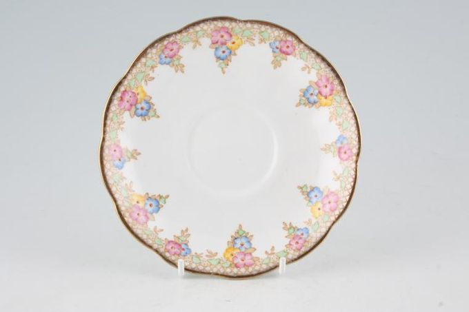 "Royal Albert Trellis - Blue and Pink Flowers Tea Saucer 5 1/2"""