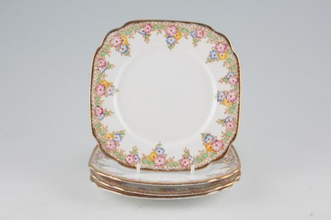 Royal Albert Trellis - Blue and Pink Flowers Tea / Side / Bread & Butter Plates - Set of 4 6""